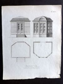 Anon C1800 Antique Architectural Print. Study of a bulding Facade 93